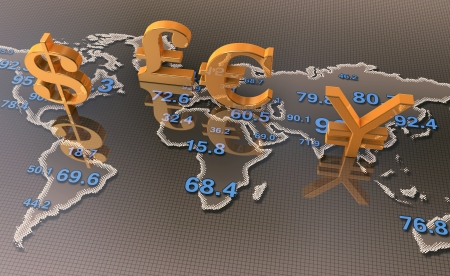 Gold currency symbols with world map  photo