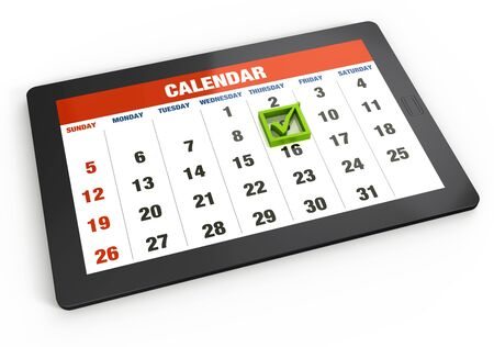 Calendar on tablet  photo