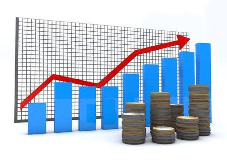 fondos negocios: Las monedas en euros con gráficos financieros y gráficos Foto de archivo