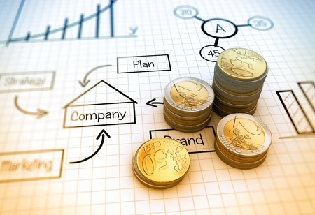 euromoney: Financial business charts and coins
