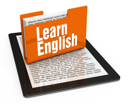 grammar: English lesson on computer tablet
