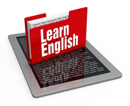 języki: Lekcja angielskiego na komputerze typu tablet