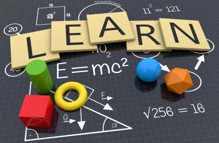 learning icon: Study with school symbols background Stock Photo