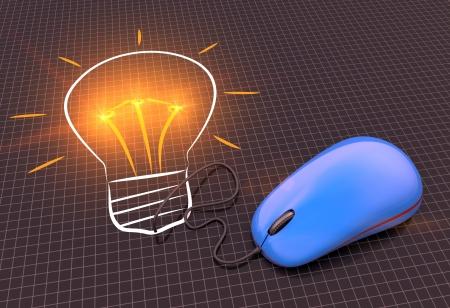 Light bulb with computer mouse idea photo