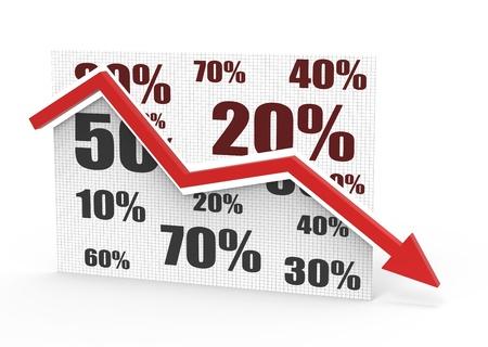 Percentage symbols with an arrow down  photo