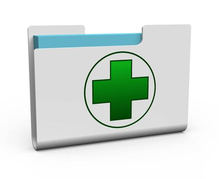 medical preparation: Folder with green cross as concept Stock Photo