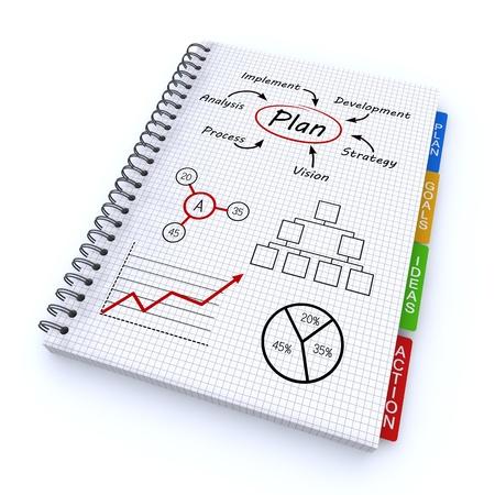 planeaci�n estrategica: Cuaderno espiral con el plan de palabras