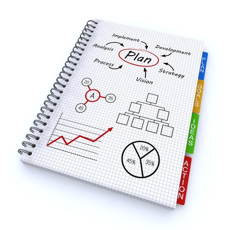 Spiralblock mit den Worten Plan Standard-Bild