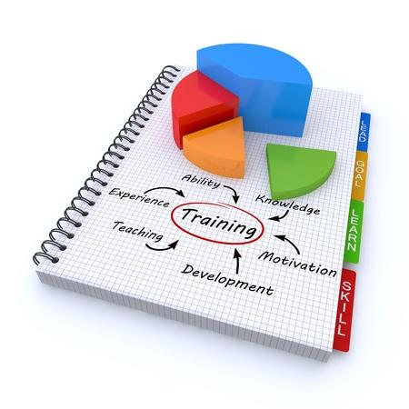 Training concept illustration design over a notebook illustration