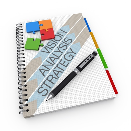 strategic: Analyzing concept illustration design over a notebook