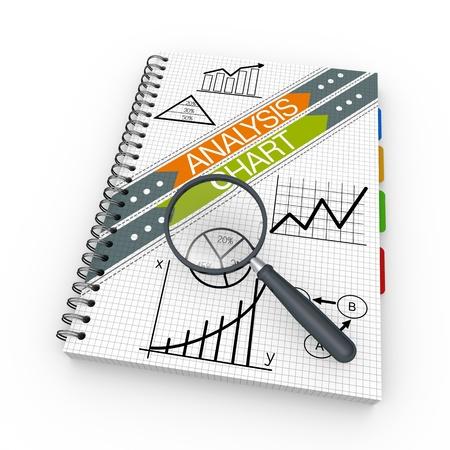 Analyzing concept illustration design over a notebook illustration
