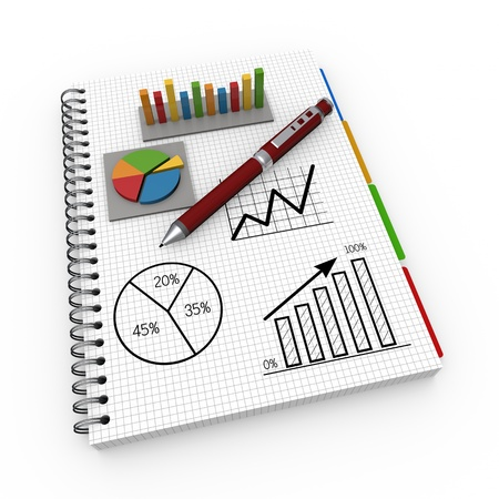 equity: Spiral notebook with charts and graphs Stock Photo
