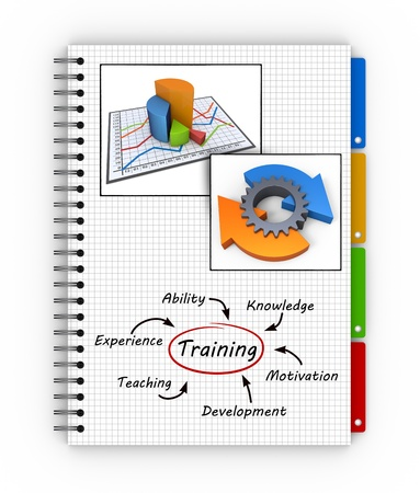 Training concept illustration design over a notebook