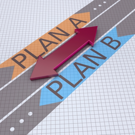 Directional arrows pointing to plan A and plan B photo