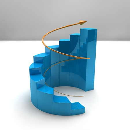 rising graphic: Business bar graph with rising arrow Stock Photo