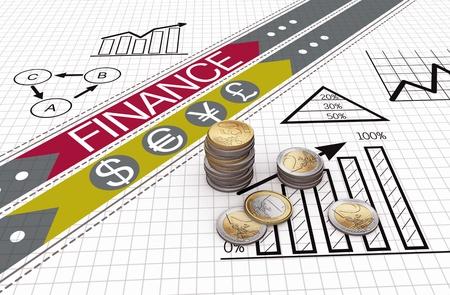 contabilidad financiera cuentas: Las monedas en euros con gr�ficos financieros y gr�ficos Foto de archivo