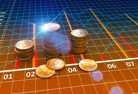 Euro coins with financial charts and graphs