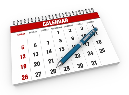 Calendar with a red pencil