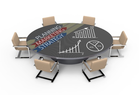 Oval table with strategic planning concept