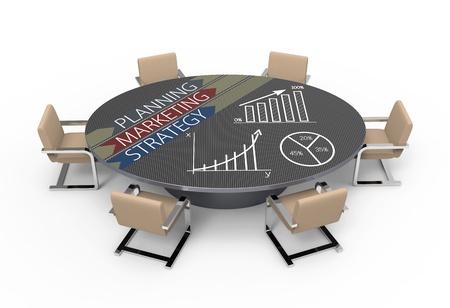 planowanie: Owalny stół z koncepcji planowania strategicznego Zdjęcie Seryjne