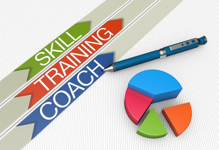 Training concept illustration design with pie chart