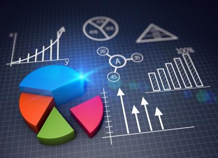 desarrollo económico: Varios gráficos financieros en su concepto