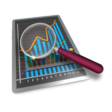 Analysis of business graphs with a magnifying glass photo