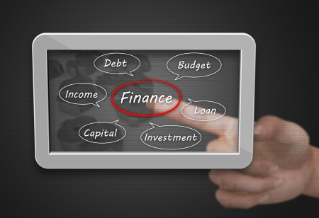 business loans: Finance as a concept with a computer tablet Stock Photo