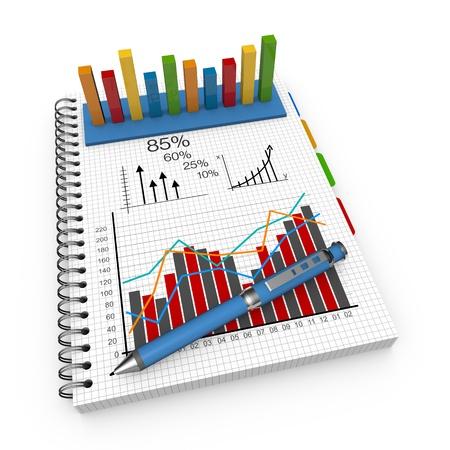 Statistics concept illustration design over a notebook