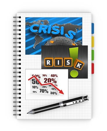 global crisis: Notebook concept of global crisis