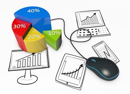 Stratégie d'affaires diagramme montre dans les dispositifs informatiques Banque d'images - 21151568