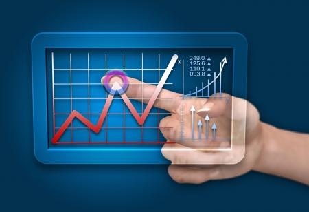 Businessman hand analyzes on computer tablet strategic concept photo
