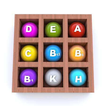 Various vitamins in the box