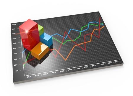 Les donn?es financi?res sous forme de graphiques et de diagrammes Banque d'images - 21815789