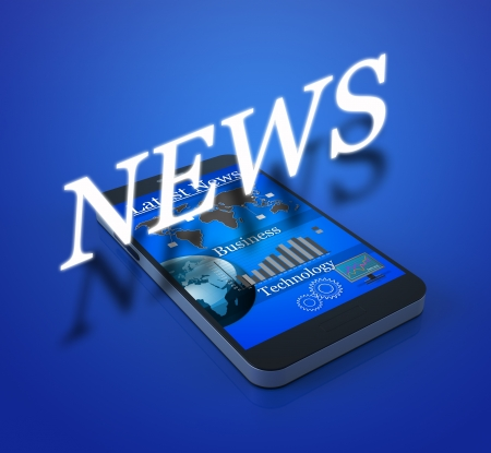 Mobile smart phone with news on screen photo