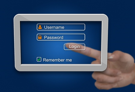 Login and password on tablet computer screen  Stock Photo - 21815852