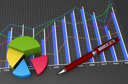 Financial data in form of charts and diagrams  photo