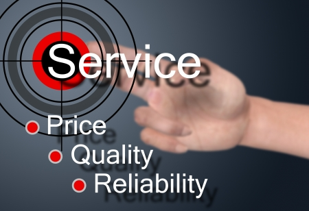 satisfy: Hand touch on service concept  Stock Photo