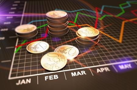 Financiële zaken grafiek en muntstukken Stockfoto
