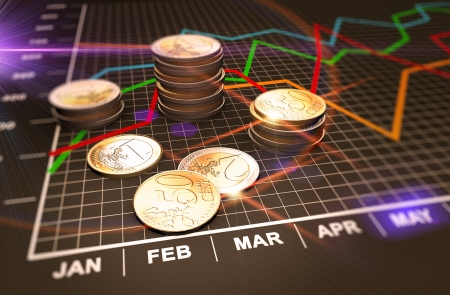 investment banking: Financial business chart and coins