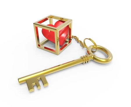 key in chain: Golden key to the heart in a cage