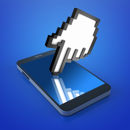 Smart phone concept with hand cursor photo
