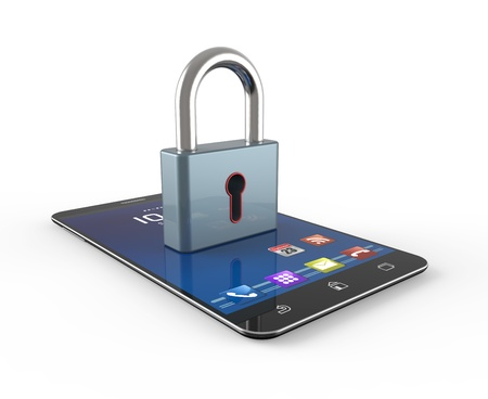 Cell phone and padlock as concept