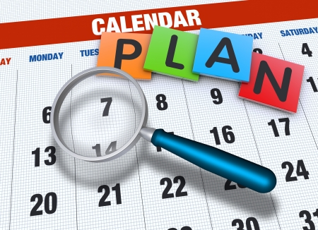 Planning calendar with events concept