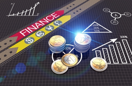 financial planning: Euro coins with financial charts and graphs