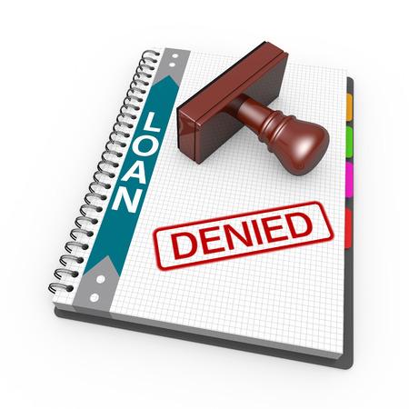 refused: Cuaderno y sello de goma con la palabra negaron