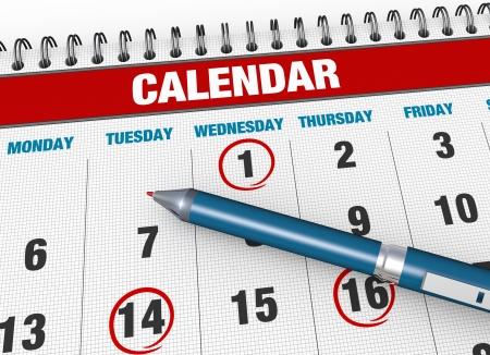 Circle marked on a calendar concept