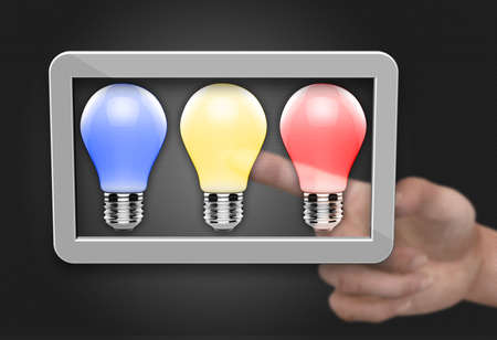 Color light bulb as a concept photo
