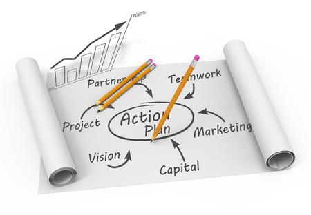 Businessplan stroomschema op de tekening Stockfoto