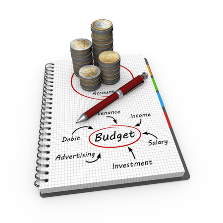 taxes budgeting: Budget concept illustration design over a notebook